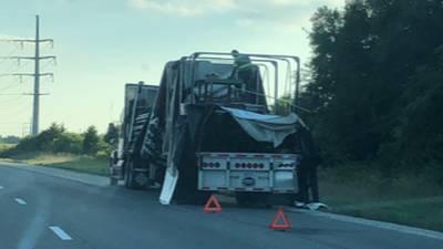 Semi collision on SB75 near Piqua leaves laundry detergent on highway