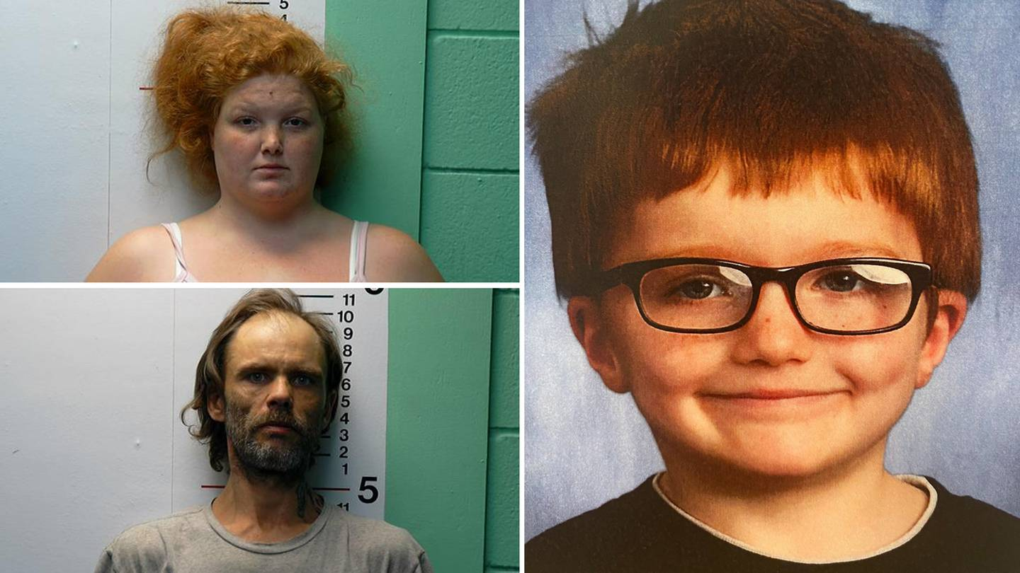 Police said Brittany Gosney (top left) and James Hamilton (bottom left) have been charged in connection with the murder and disappearance of the body of Gosney's 6-year-old son James Hutchinson.