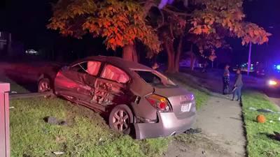 1 hospitalized after overnight crash on Hillcrest Ave.