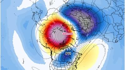 A polar vortex disruption could lead to colder weeks ahead