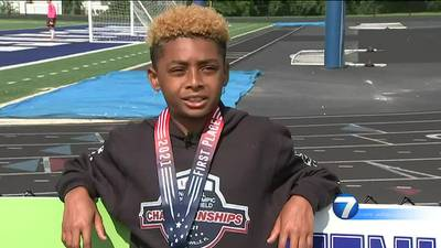 9-year-old athlete wins gold medal in junior track and field competition